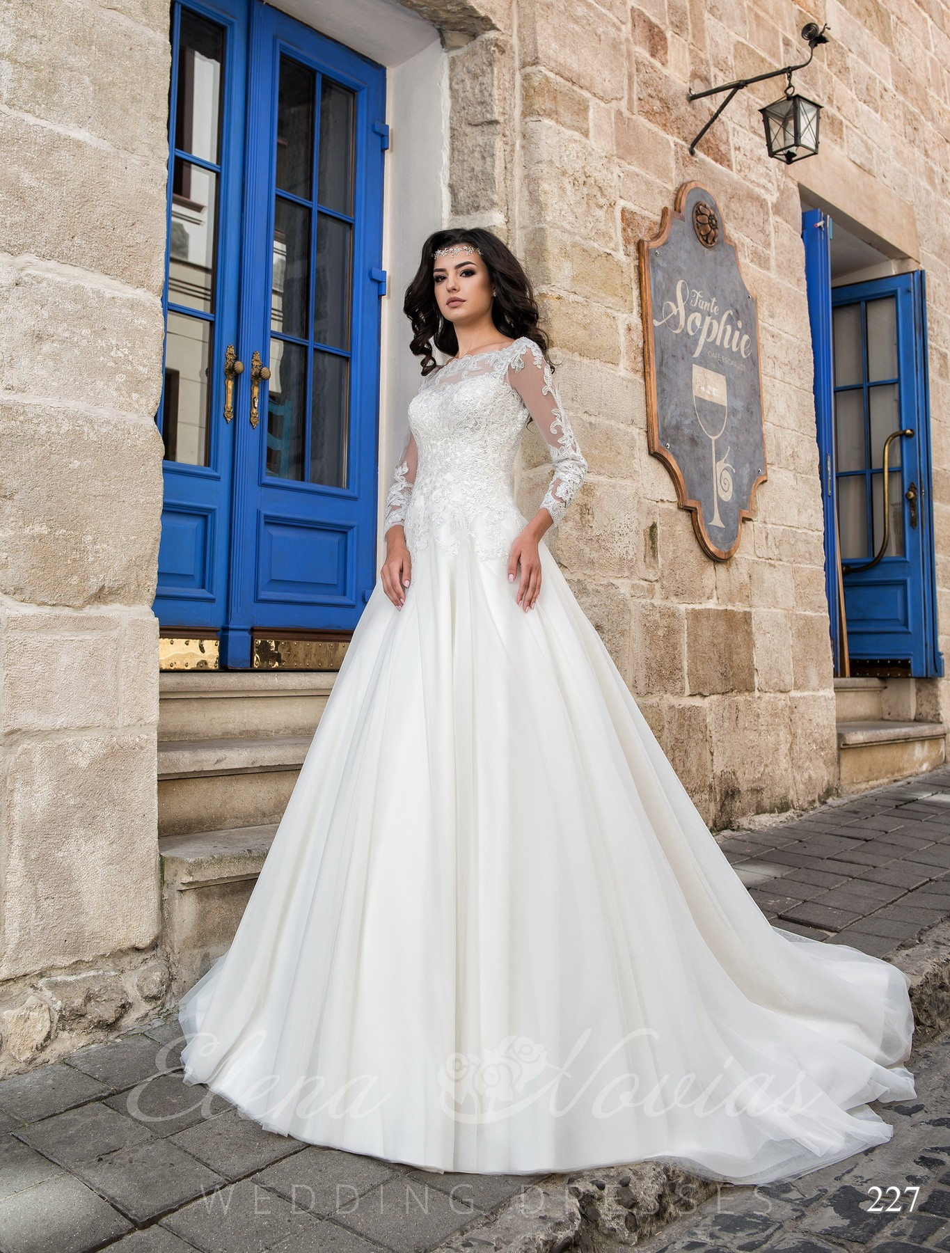 Wedding dress with a false decolette model 227