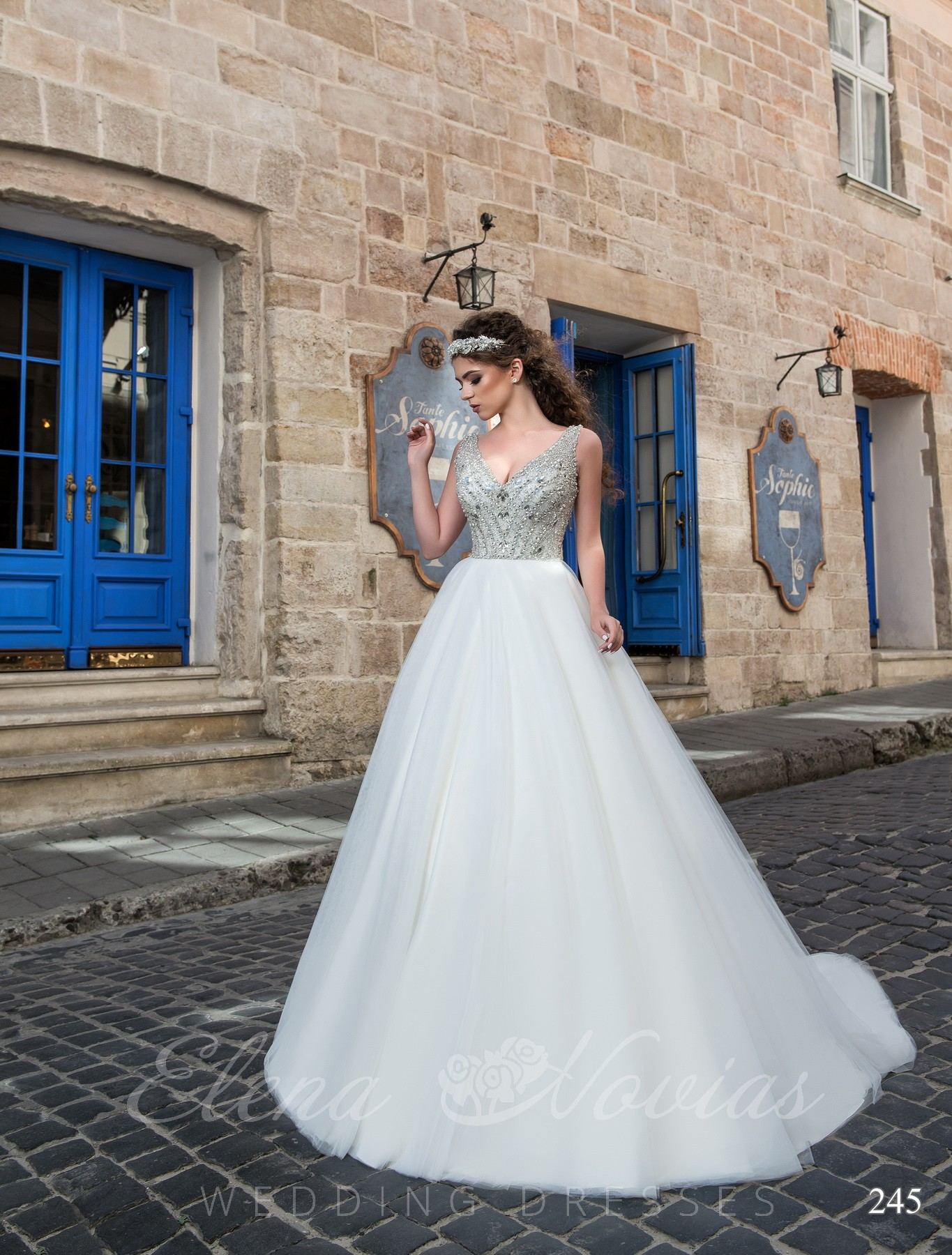 Wedding dress with beads model 245