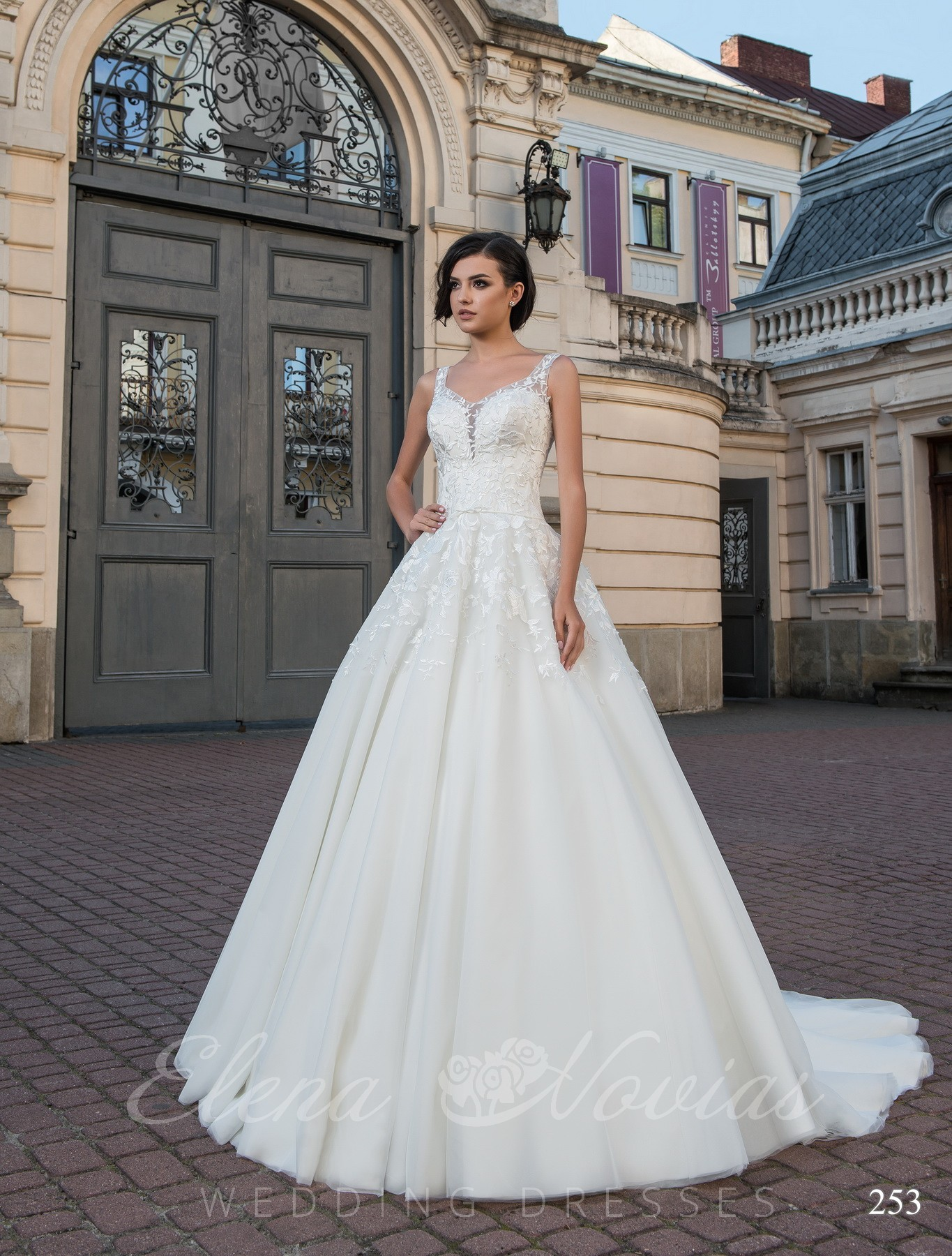 Wedding dress with handmade appliques model 253