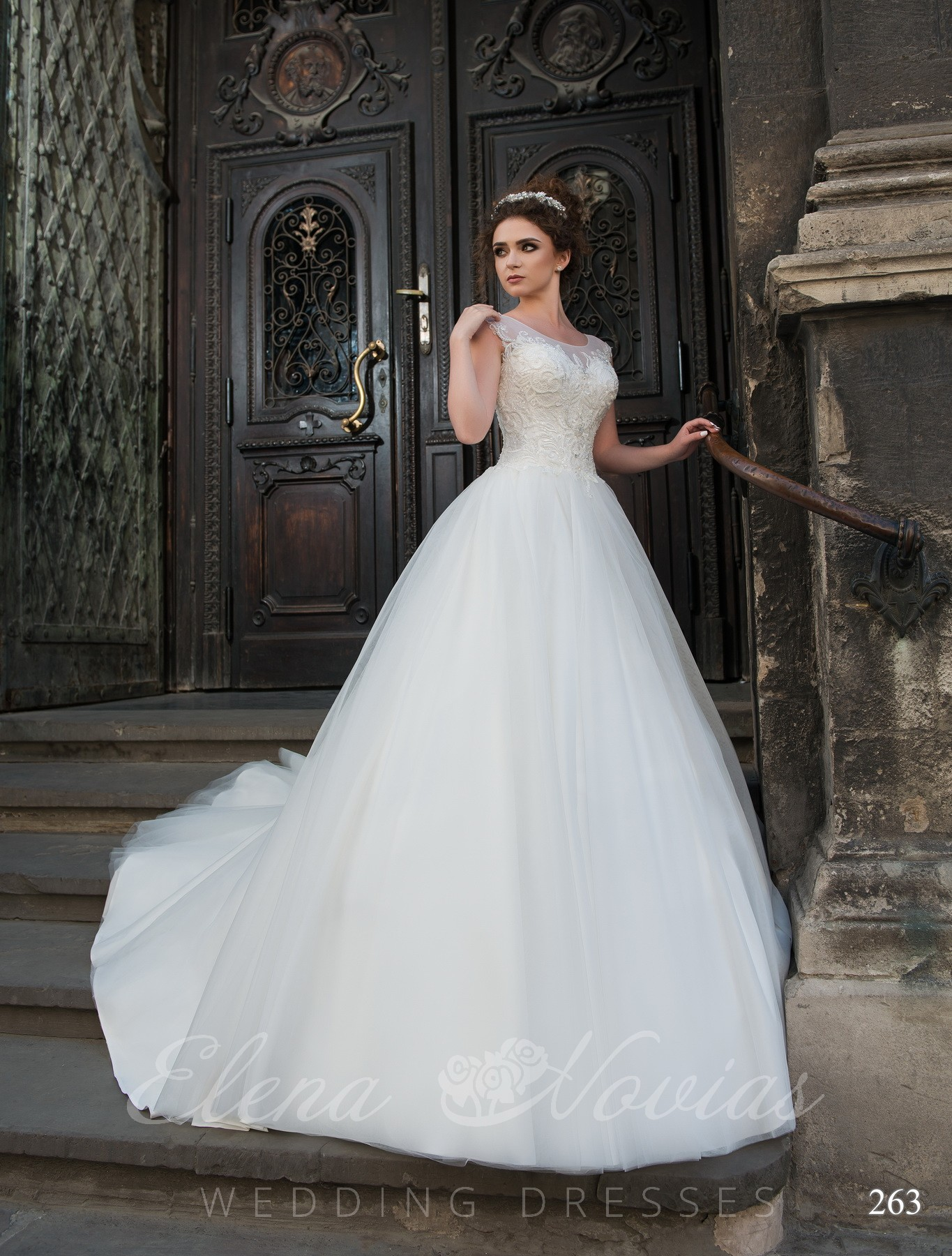 Wedding dress with a transparent back model 263
