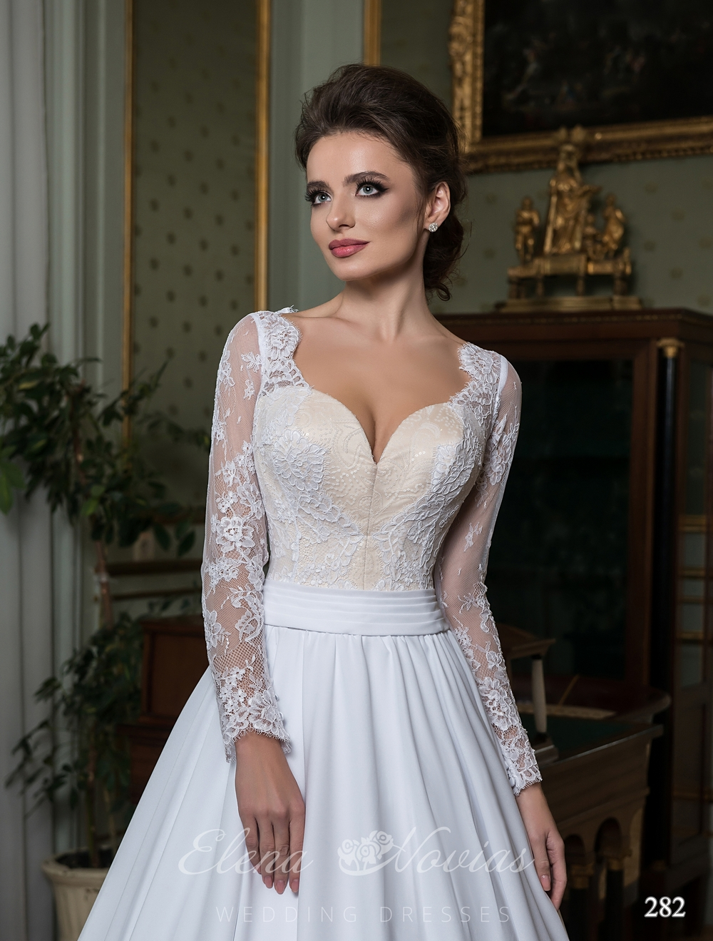 Luxurious wedding dress with a long train
