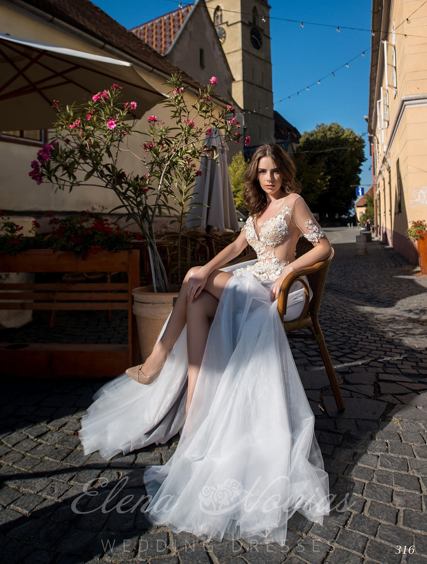 Wedding dress with a cut on the leg