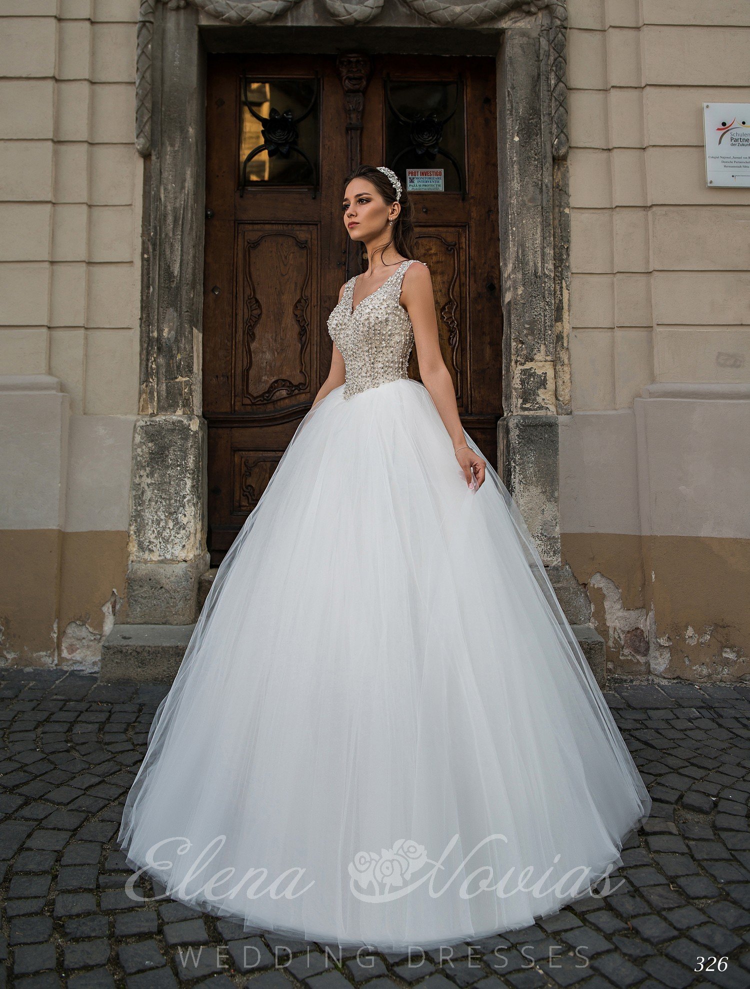 Lush embroidered wedding dress with V-neck
