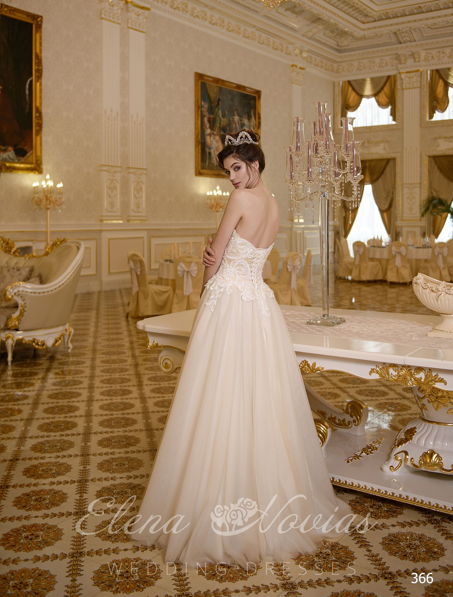 "Beige wedding dress with corset ""heart"" of the ElenaNovias"