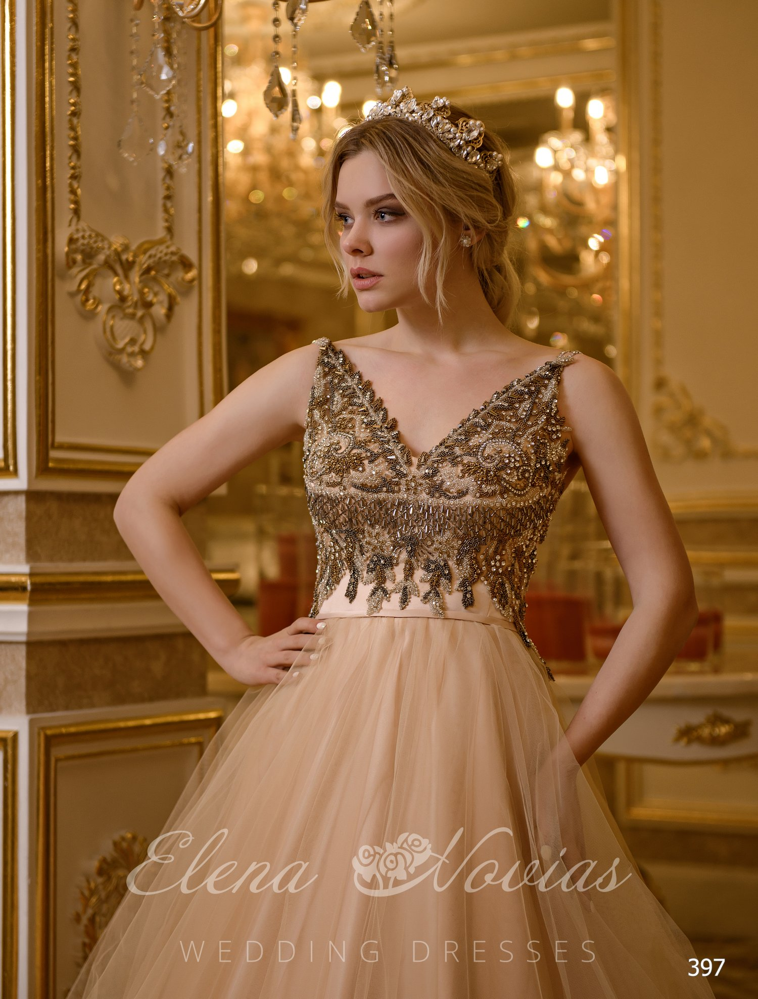 "Wedding dress embroidered with dark beads from "" ElenaNovias»"