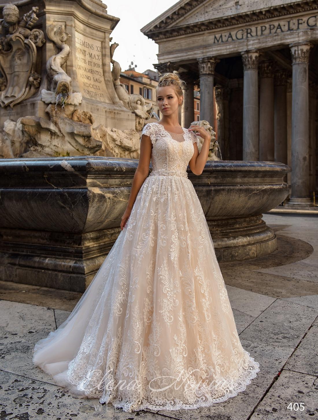 Ажурное свадебное платье А-силуэта от Elena Novias оптом