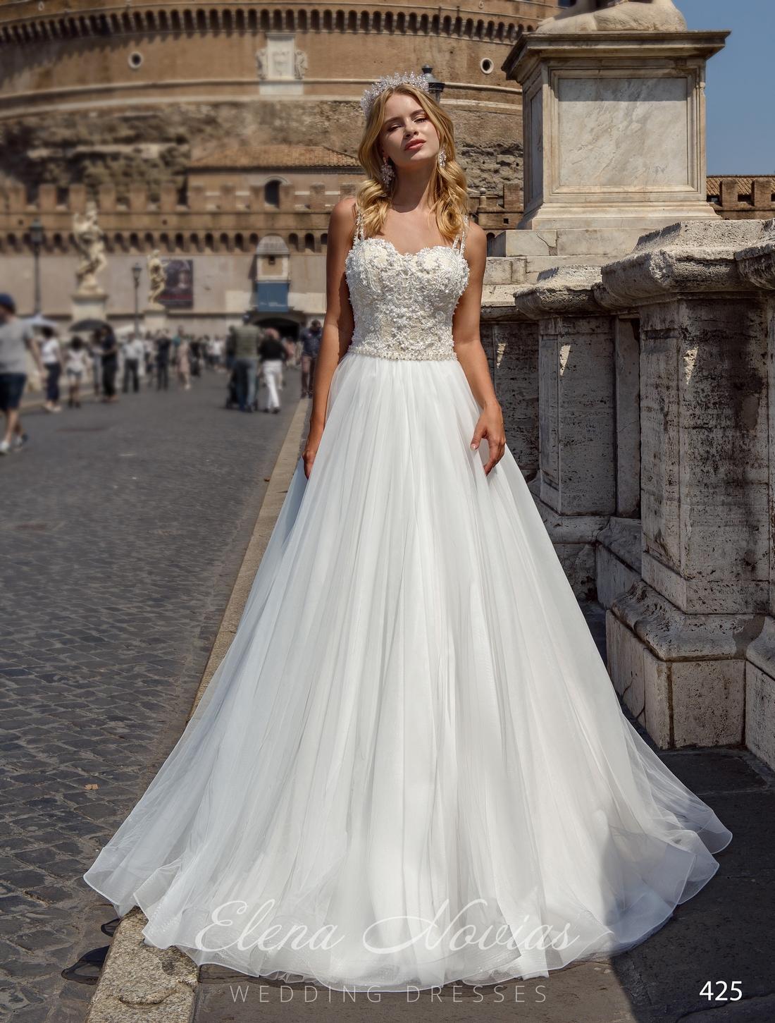 Пышное свадебное платье на тонких бретелях