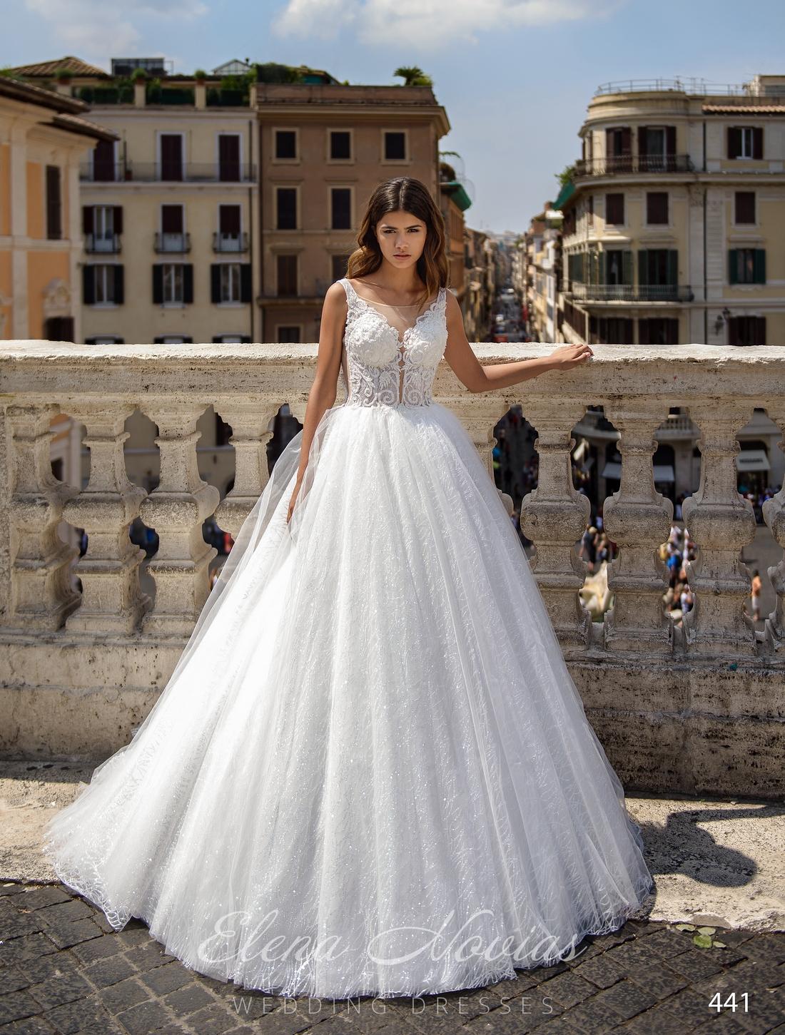 Свадебные платья с прозрачным кружевным корсетом оптом