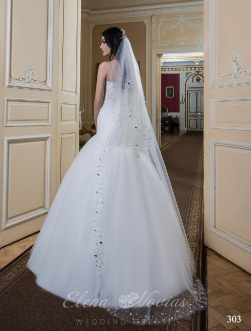 Floor-length veil with stones Veil-303
