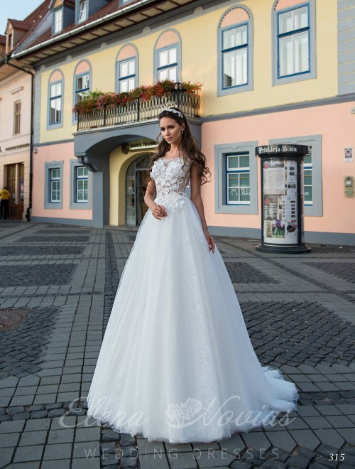 Wedding dress embroidered with 3D appliqués on wholesale 315