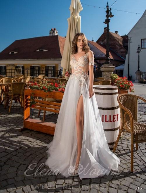 Свадебное платье с разрезом от Elenanovias  оптом